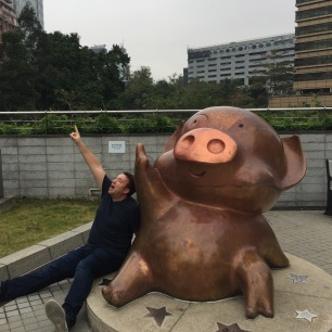 Drew with famed Hong Kong celeb, Piglet McDull