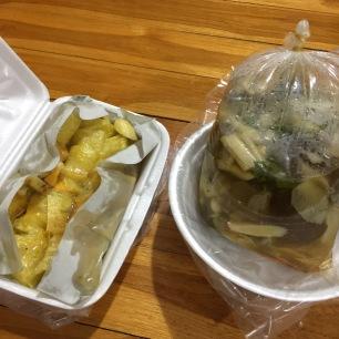 Amazing street food - mushroom soup and banana mango pancakes